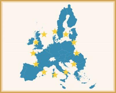 Väggdekor Vintagekarta av EU med EU-flaggan