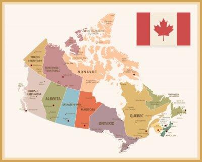 Väggdekor Vintagekarta av Kanada med flagga