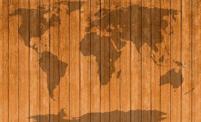 Väggdekor vintagekarta av trä textur bakgrund