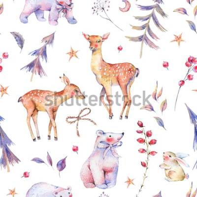 Väggdekor Vintern akvarell vintage mönster med söta isbjörnar, hjortar, fawn, hare och magisk skog på vit bakgrund, juldekoration, tecknad semestrarillustration