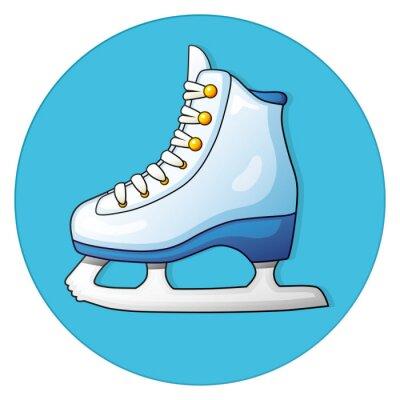 Väggdekor Vit skridsko på en blå bakgrund, runda ikonen.