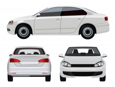 Väggdekor Vit Vehicle - Sedan Bil från tre vinklar