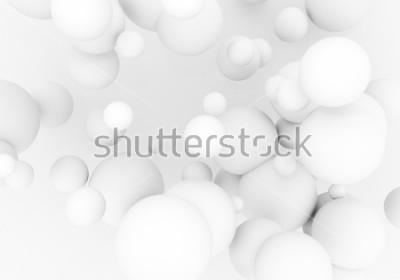 Väggdekor Vita pärlor flyger i rymden. Matte sfär 3d bollar faller - render illustration. Abstrakt trendig elegant bakgrundsbild