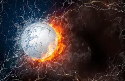 Väggdekor Volleyboll boll i brand och vatten