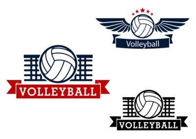 Väggdekor Volleyboll emblem med spelet objekt