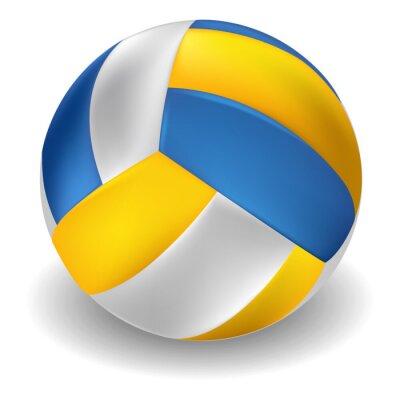 Väggdekor Volleyboll isolerad på vit bakgrund. Alla delar är i separata lager och grupperas.