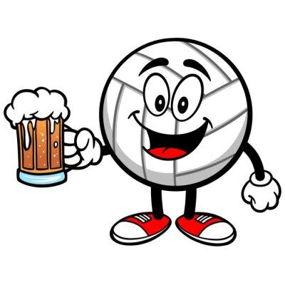 Väggdekor Volleyboll Mascot med öl