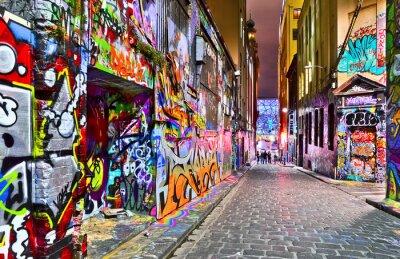 Väggdekor Vy över färgglad graffiti konstverk på Hosier Lane i Melbourne