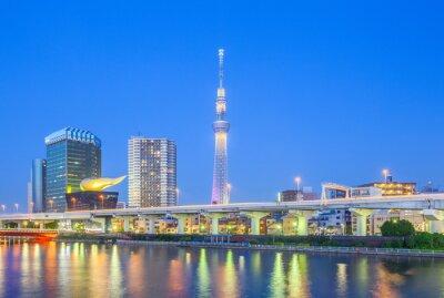 Väggdekor Vy över Tokyo Skytree landmärke och Sumida floden på natten.
