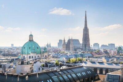 Väggdekor Vy över Wien Skyline med Stefansdomen på morgonen, Wien, Österrike