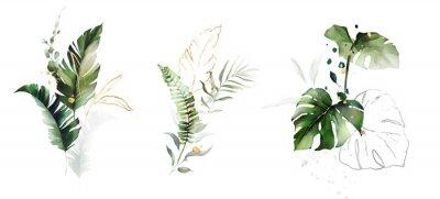 Väggdekor  watercolor and gold leaves. herbal illustration. Botanic tropic composition.  Exotic modern design