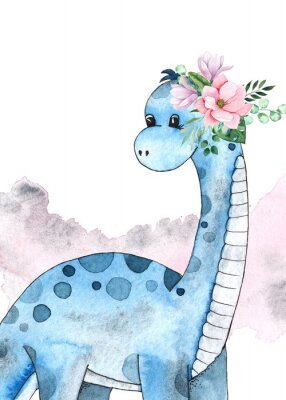 Väggdekor Watercolor and graphic dinosaurs pre-made cards with Brachiosaurus, Stegosaurus on white background with watercolor shapes