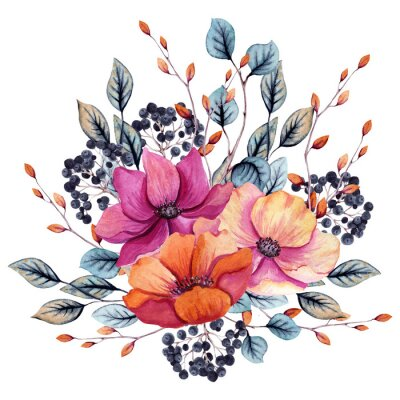 Väggdekor Watercolor Autumn Floral Composition with Pink and Red Flowers