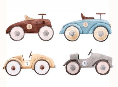 Väggdekor Watercolor baby car illustration