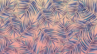 Väggdekor Watercolor background with tropical leaves on a pink background.