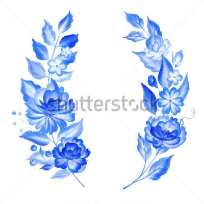 Väggdekor Watercolor blue flowers  in gzhel style.Floral background.