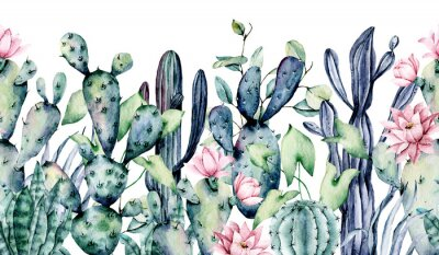 Väggdekor Watercolor cacti, seamless border, hand drawn flower illustration. Perfect for floral design greeting card, blog, site, banner, wedding invitation. Isolated on white.  Cacti collection.