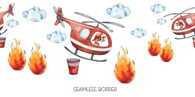 Väggdekor Watercolor cartoon cute seamless border Firefighting and fire safety equipment illustration. Fire helicopter, dog, helmet, hose, column, fire extinguisher. Baby shower red colorful clip art