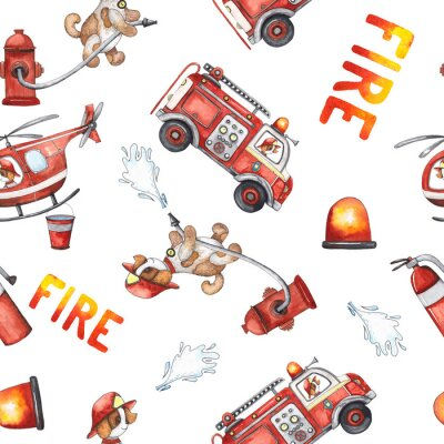 Väggdekor Watercolor cartoon cute seamless pattern Firefighting and fire safety equipment illustration. Fire truck, helicopter, dog, helmet, hose, column, fire extinguisher. Baby shower red colorful clip art