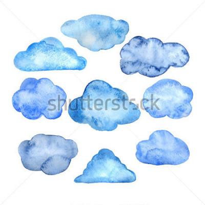 Väggdekor Watercolor clouds set