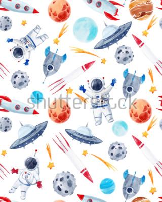 Väggdekor Watercolor cutepattern  space illustrations , the man in the spacesuit of an astronaut, rocket, shooting star, flying saucer