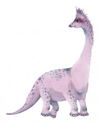 Väggdekor Watercolor dinosaurs brontosaurus