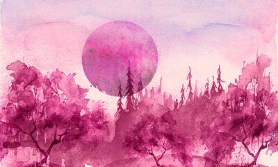 Väggdekor Watercolor drawing, illustration. Forest landscape, fir, pine, tree, cedar, red, pink sun, sunset, sunrise. Splash paint, abstract illustration. Art painting. Winter landscape. Mystic forest