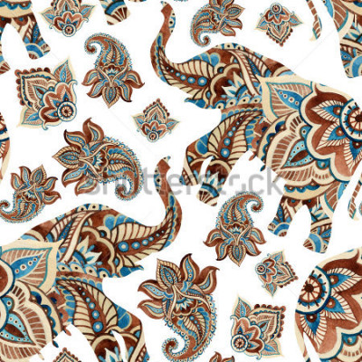 Väggdekor Watercolor ethnic elephant with paisley elements background. Abstract indian seamless pattern with paisley ornament on white background. Hand painted illustration for boho, tribal design