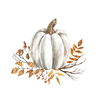 Väggdekor Watercolor fall pumpkin arrangement, beautiful autumn decoration, isolated on white background. Watercolor white pumpkin with yellow and orange dry leaves and tree branches.