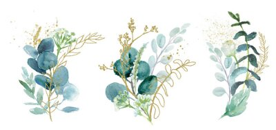 Väggdekor Watercolor floral illustration set - green & gold leaf branches collection, for wedding stationary, greetings, wallpapers, fashion, background. Eucalyptus, olive, green leaves, etc.