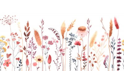 Väggdekor Watercolor floral seamless pattern with colorful wildflowers, plants and grass. Panoramic horizontal border, isolated illustration. Meadow in vintage style.