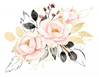 Väggdekor Watercolor flowers, floral bouquet with gold gray leaves and blush pink peonies. Perfectly for print on greeting card, wedding invitation, poster. Hand drawing. Composition isolated on white.