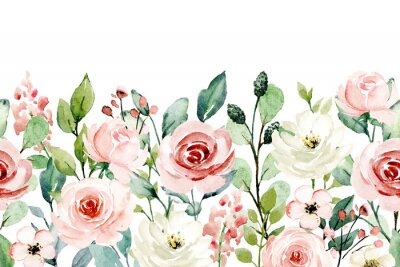 Väggdekor Watercolor flowers, pink, white roses. Floral summer repeat border for printing invitations, greeting cards, wall art, stickers and other. Isolated on white. Hand painted.