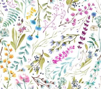 Väggdekor  Watercolor flowers. Seamless watercolor pattern.