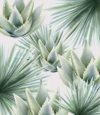 Väggdekor Watercolor green palm and cactus leaves. Background vector