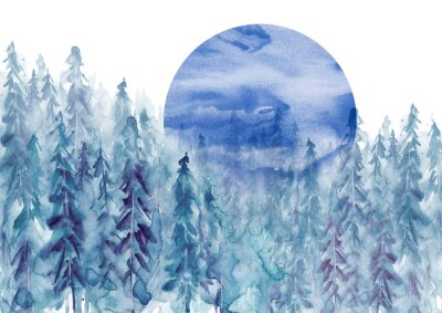 Väggdekor Watercolor group of trees - blue fir, pine, cedar, fir-tree. Forest on the slope, cliff, grief. Blue forest, landscape, fog forest landscape, slope, mountain. Full moon, eclipse.