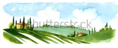 Väggdekor Watercolor illustration of small village in Europe. Alpine landscape