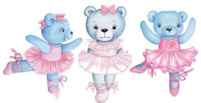 Väggdekor Watercolor illustration of three dancing teddy bears in pink ballet dresses.