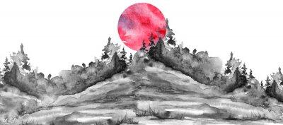 Väggdekor Watercolor logo, postcard, background Black silhouette of the forest, pine, spruce, cedar, wild grass, bush. Watercolor landscape,coast, island.black splash of paint, abstract spots. Red, pink sun