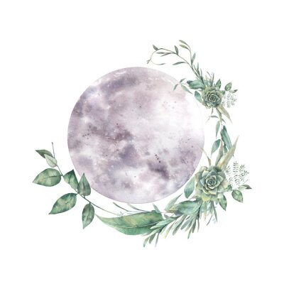 Väggdekor Watercolor moon and floral wreath. Natural illustration for logo, tattoo, banner, sticker. Isolated art on white background