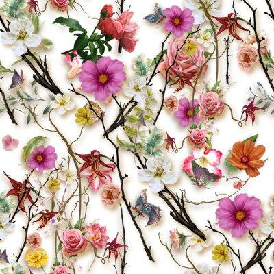 Väggdekor Watercolor painting of leaf and flowers, seamless pattern on white background