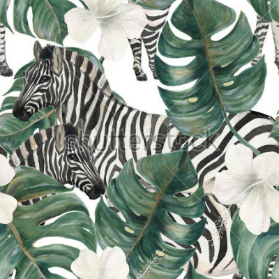 Väggdekor Watercolor painting seamless pattern with tropical deliciosa leaves, hibiscus flowers and zebra