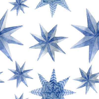Väggdekor Watercolor pattern of Christmas blue stars decoration elements. Hand-drawn illustration on the white background