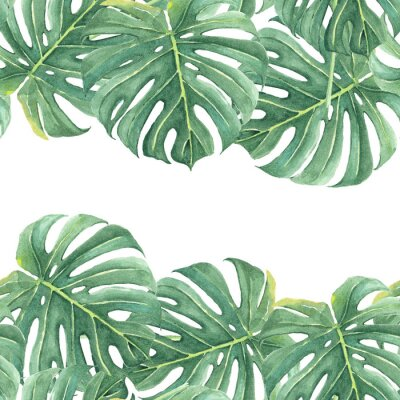 Väggdekor Watercolor seamless background with colorful tropical leaves and bright plants on light background. Jungle print. Floral background. Printing and textiles. Exotic tropics. Fresh design.