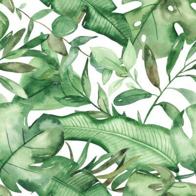Väggdekor Watercolor seamless pattern green tropical leaves