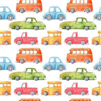 Väggdekor Watercolor seamless pattern with cartoon car. Funny cartoon image. Travel conception. Hand painted retro car pattern. Watercolor vintage white background. . Multicolor car texture.
