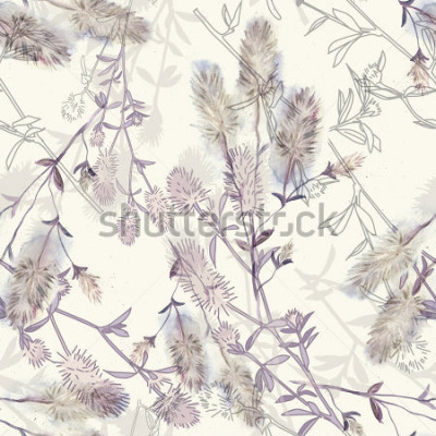 Väggdekor Watercolor seamless pattern with rabbitfoot clover flowers