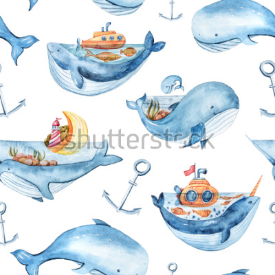 Väggdekor Watercolor seamless pattern with sea life. Wallpaper, textile pattern for kids.