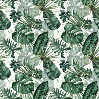Väggdekor Watercolor seamless pattern with tropical leaves: palms, monstera, passion fruit.