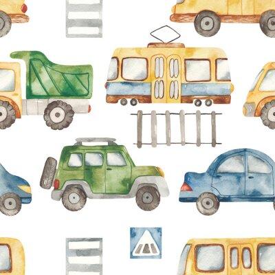 Väggdekor Watercolor seamless pattern with urban cartoon cute transport. Texture for boyish design, birthday, wallpaper, scrapbooking, prints, clothes, fabrics, textiles, packaging.